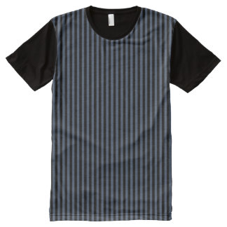 Modern Black and Blue Jeans Blue Geometric Stripes All-Over-Print T-Shirt