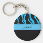 Modern Black and Blue Zebra Personalized Keychain
