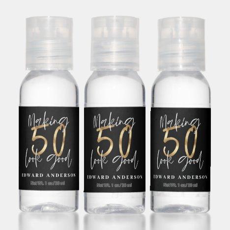 Modern black and gold 50th birthday celebration hand sanitizer