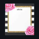 """Modern Black and Gold Bright Flower Personalized Notepad<br><div class=""""desc"""">These modern notepads are bright and cheerful and will make a perfect gift or addition to your desk.  Customize the notepad with a name using the template form.  Use the Customize feature to change the font or layout of the text.</div>"""