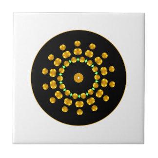 Modern Black and Gold Dots Sparkle Green Diamonds Ceramic Tile