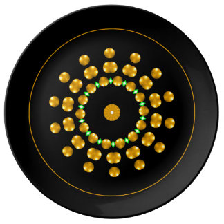 Modern Black and Gold Dots Sparkle Green Diamonds Porcelain Plates
