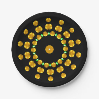 Modern Black and Gold Dots Sparkle Green Diamonds 7 Inch Paper Plate