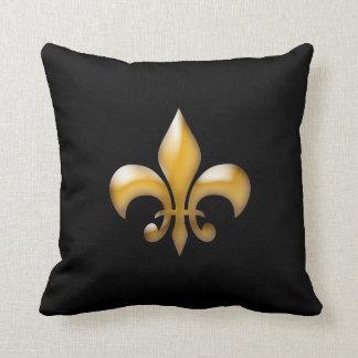 Modern Black and Gold Fleur de Lis Pillow