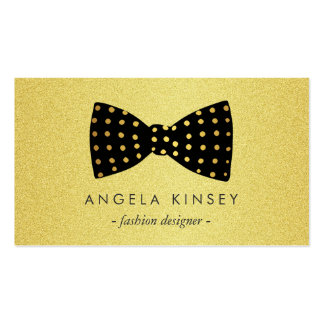 Modern Black and Gold Glitter Dots Ribbon Bow Double-Sided Standard Business Cards (Pack Of 100)