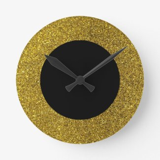 Modern Black and Gold Glitter Round Wall Clock