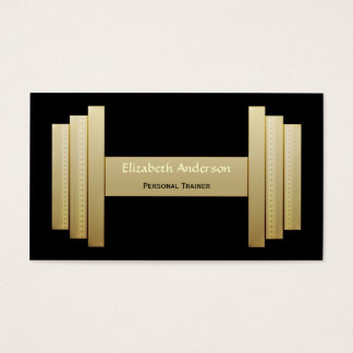 Modern Black and Gold Personal Trainer Business Card