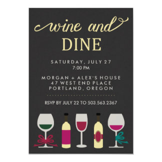 Modern Black and Gold Wine Party Bottles and Glass Card