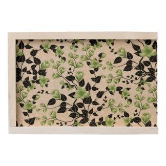 Modern Black and Green Floral Pattern Wooden Keepsake Box