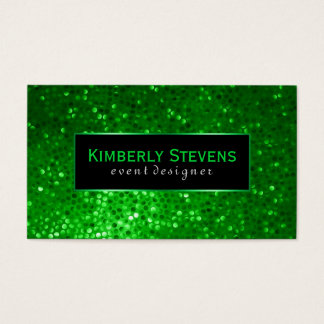 Modern Black And Green Glitter & Sparkles 2 Business Card