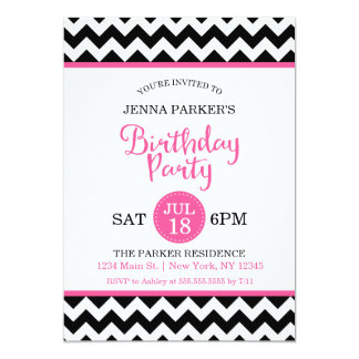 Modern Black and Hot Pink Chevron Birthday Party Card