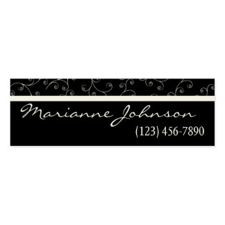 Modern Black And Ivory Swirl Profile Card Business Card
