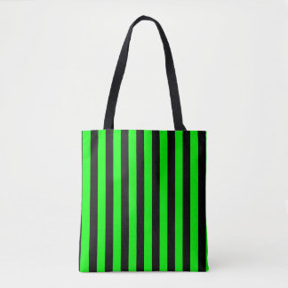 Modern Black and Lime Green Stripe Pattern Tote Bag
