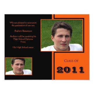 Modern Black and Orange Quad Graduation Personalized Invitation