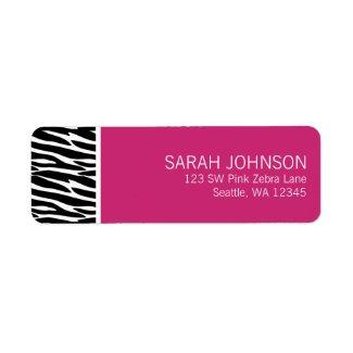 Modern Black and Pink Zebra Return Address Label label