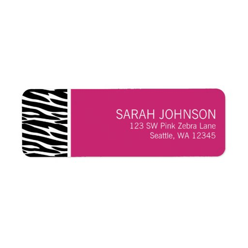 Modern Black and Pink Zebra Return Address Label