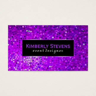 Modern Black And Purple Glitter & Sparkles Business Card