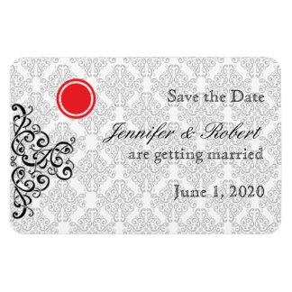 Modern Black and Red Damask Wedding Save the Date Magnet