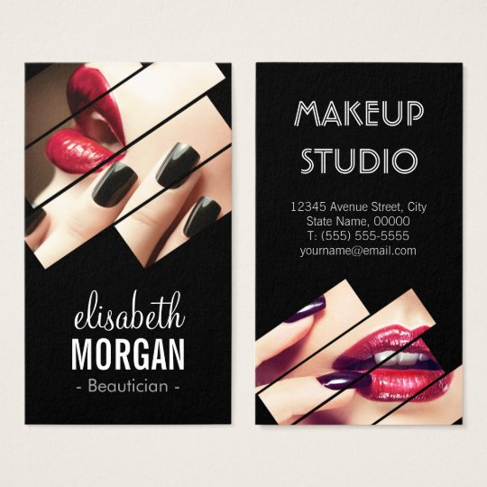 Modern black and red fashion makeup beauty salon business card modern black and red fashion makeup beauty salon business card reheart Image collections
