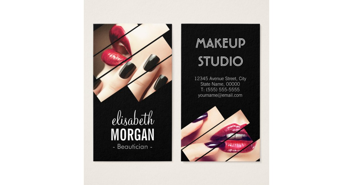 Modern Black And Red Fashion Makeup Beauty Salon Business Card Zazzle