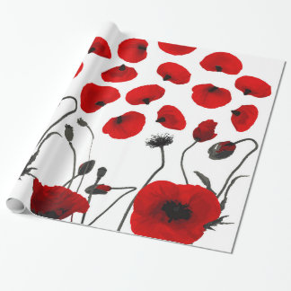 Modern Black and Red Flowers and Petals Wrapping Paper