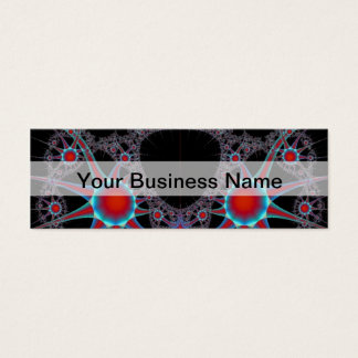 Modern black and red fractal pattern mini business card