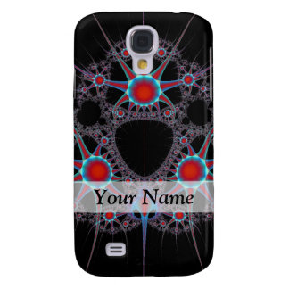 Modern black and red fractal pattern samsung galaxy s4 case