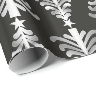 Modern Black And Silver Christmas Trees Pattern Wrapping Paper