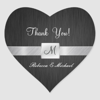 Modern Black and Silver Thank you sticker
