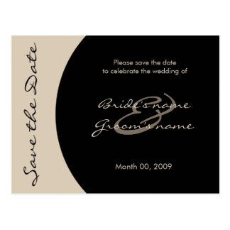 Modern Black and Taupe Save the Date Postcards
