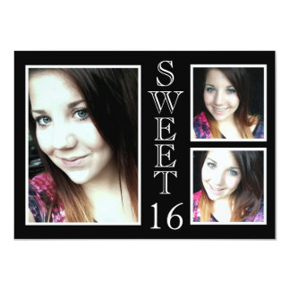 Modern Black and White 3 Photo Sweet 16 Card