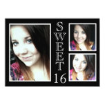 Modern Black and White 3 Photo Sweet 16 Invitations