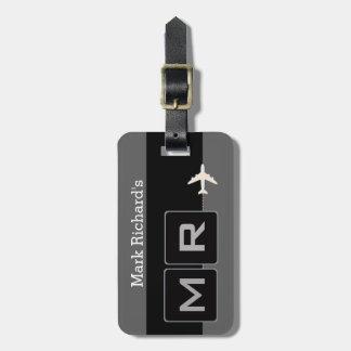 modern black and white airplane travel bag tag