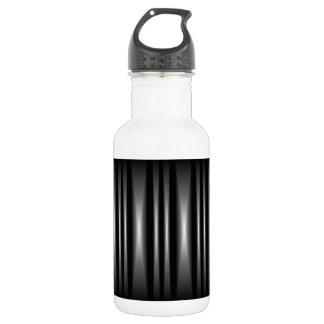 Modern Black and White Bar Pattern Water Bottle