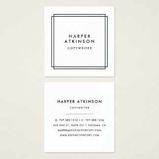 Modern Black and White Bordered Square Business Card