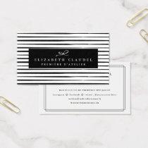 Modern Black and White Brush Strokes | Elegant bow Business Card