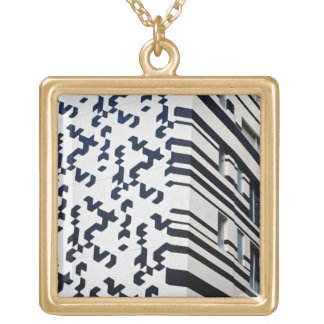 Modern black and white building in Hong Kong 2 Square Pendant Necklace