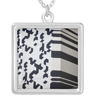 Modern black and white building in Hong Kong Square Pendant Necklace