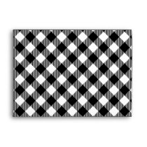 Modern Black and White Check Gingham Pattern Envelope