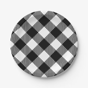 Modern Black and White Check Gingham Pattern Paper Plate  sc 1 st  Zazzle & Black And White Gingham Plates | Zazzle