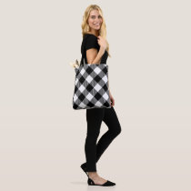 Modern Black and White Check Gingham Pattern Tote Bag