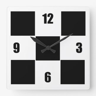 Modern Black And White Checked Square Wall Clock