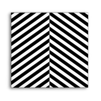 Modern Black And White Chevron Stripes Pattern Envelope