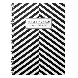 Modern Black And White Chevron Stripes Pattern Notebook