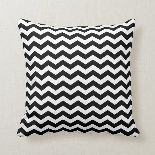Black And White Chevron Throw Pillows : Modern Black and White Chevron Throw Pillow Zazzle