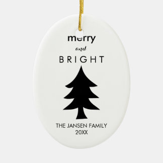 Modern Black and White Christmas Tree Ceramic Ornament