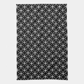 Modern Black and White Circle Diamond Pattern Towels