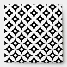 Modern Black and White Circle Polka Dots Pattern Envelope