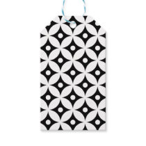 Modern Black and White Circle Polka Dots Pattern Gift Tags
