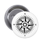 Modern black and white compass rose button / badge